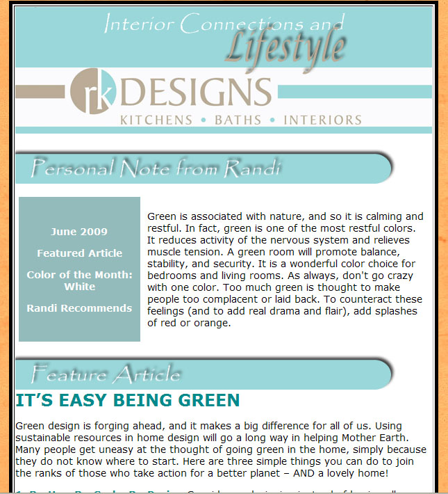 Interior Designer Newsletter Sample 3