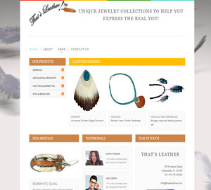 Leather Jewelry retail website custom build by DocUmeant Designs